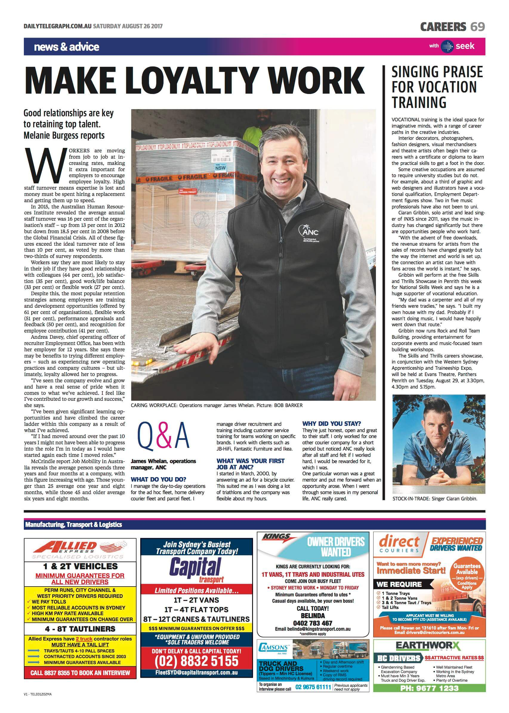 Daily Telegraph James Whelan CareersOne interview